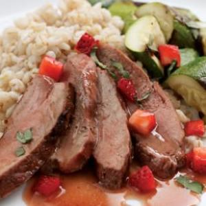 Grilled Duck with Strawberry-Fig Sauce
