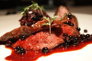 Scottish venison with mashed Beetroot and elderberries